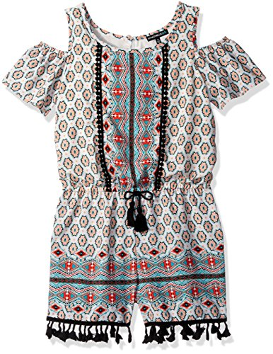 My Michelle Big Girls' Print Cold Shoulder Romper with Tassel Trim, Multi, M (Clothes Michelle My)