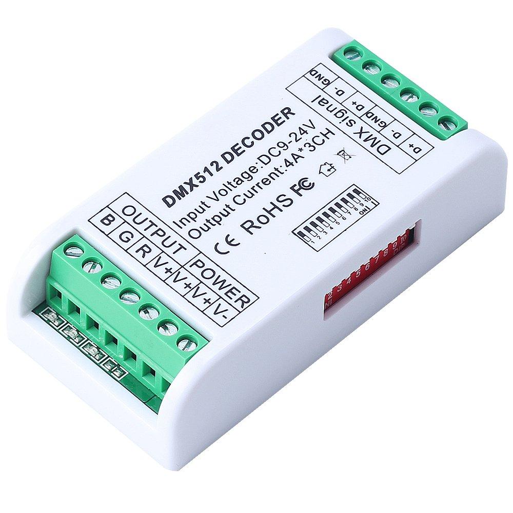 CHINLY 3 canales DMX 512 RGB 12A controlador de tira LED DMX decodificador controlador de atenuaci/ón DC12V-24V para RGB LED m/ódulo de la tira