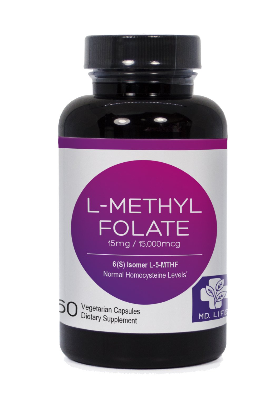 MD.LIFE L-Methyl Folate|5-MTHF| 15 mg| 60 Capsules Active Form of Folic Acid| Scientifically Formulated B Vitamin Blend with B12, B9, Niacin, B1, B2  (60 Caps)