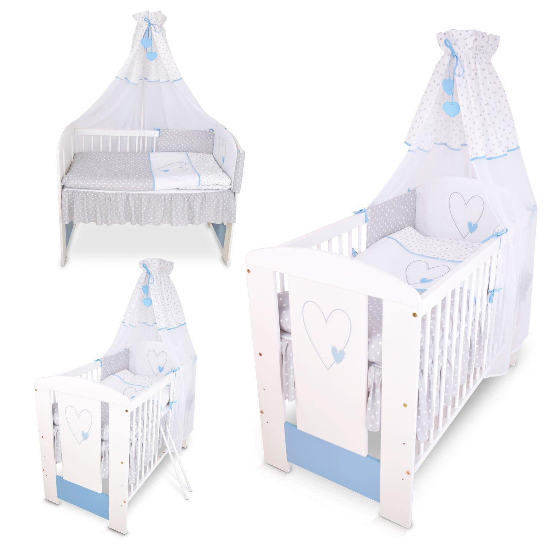 Berceau bebe lit bébé cododo 120 x 60 cm cœur bleu avec Set de lit complète Klups