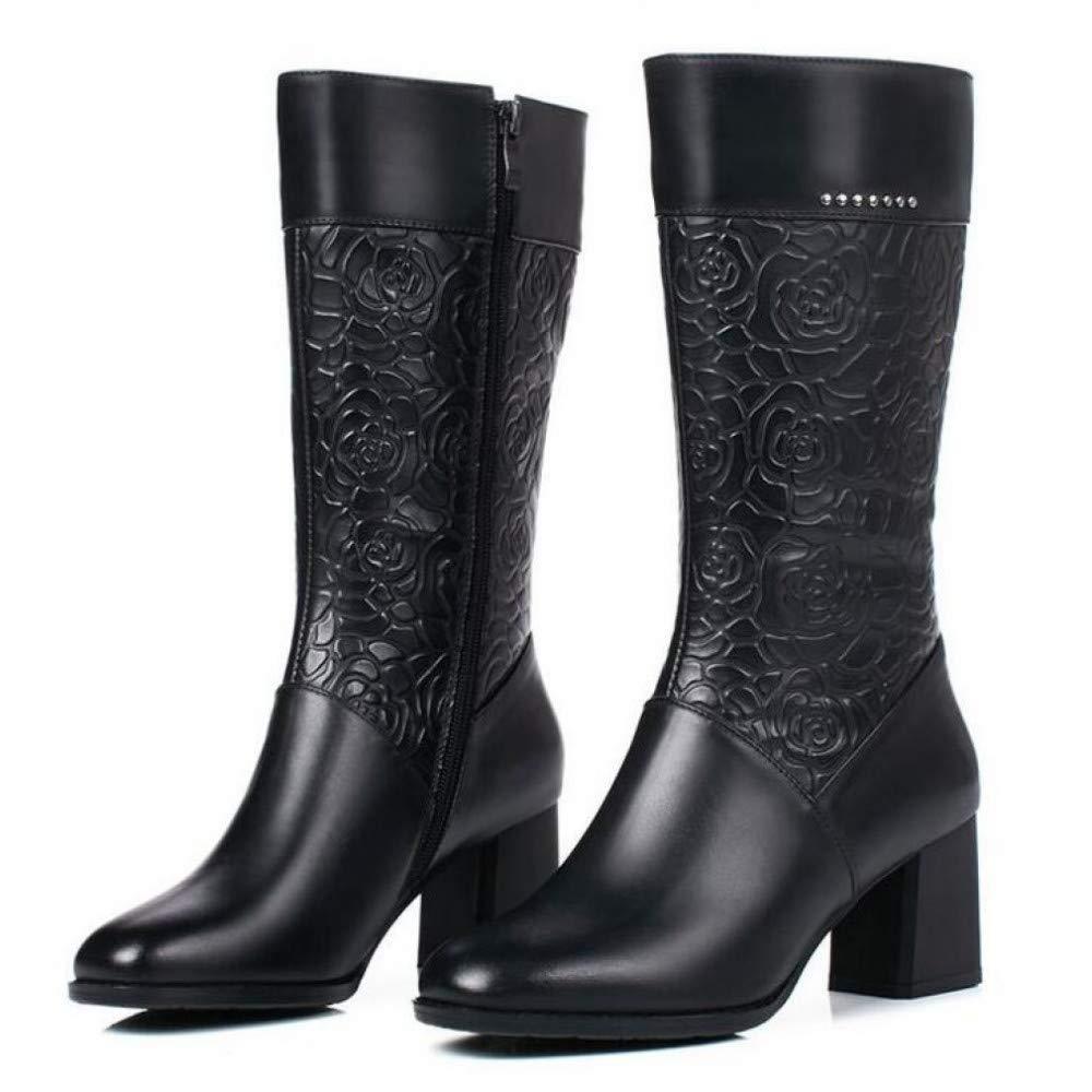 PINGXIANNV Frauen Winter Retro Damen High Heel Stiefel Stiefel Stiefel Leder Stiefel Schnitzen Muster Frauen Schuhe 95cc02