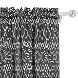 dark grey curtains the range Deconovo Blackout Curtains Modern Geometric Curtains Rod Pocket Trellis Curtains for Kids Room 42W x 84L Inch with Printed Rhombic Pattern Dark Grey 2 Drapes