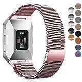 Fitbit Ionic Bands, hooroor Fully Magnetic Closure Clasp Mesh Loop Milanese Stainless Steel Ionic Band for Fitbit Ionic Smartwatch (Rose Pink Small)