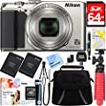 Nikon A900 20MP Longest Slim Zoom COOLPIX WiFi Digital Camera with 4K UHD Video 35x Telephoto NIKKOR Zoom Lens + 64GB Dual Battery Accessory Bundle (Silver) from Nikon