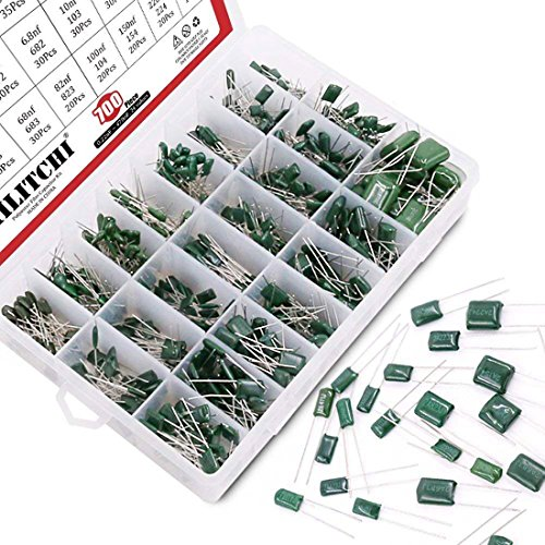 Hilitchi 700Pcs 24-Value Mylar Polyester Film Capacitor Assortment Kit - 0.22NF to 470NF / 100V