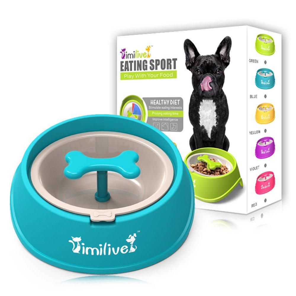 Vaxuia Pet Dog Bowls Interactive Fun Feeder Slow Bowl Bone Shaped