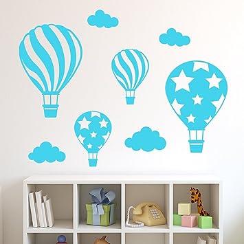 Decowall DWG 602 2B Heißluftballons Grafik Wandsticker Wandaufkleber Wandtattoo  Kinderzimmer (Blau)