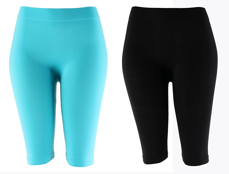 95a547932fe06 Solid Knee Length Short Spandex Yoga Leggings 2 Pack (19 inch, Aqua /  Black) at Amazon Women's Clothing store: