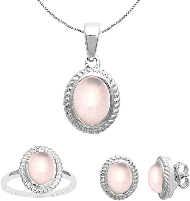 Wedding Jewelry Set Bridal Jewelry Set Silver 925 Jewellery Set Ladies 925 Sterling Silver Pendant Necklace Earrings Ring Size US 7 Set