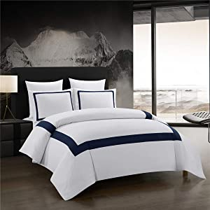 ALADDIN HOME Hotel Collection Duvet Cover Set King Navy Blue Band Stitch Luxury Bedding Sets with Zipper Closure Ultra Soft (White-Navy Band,King)
