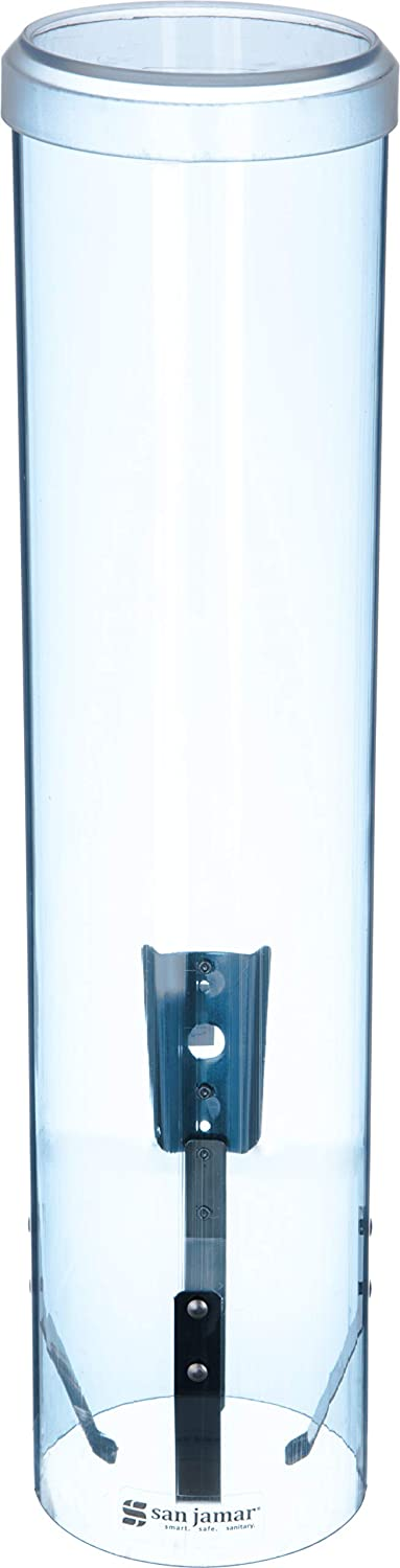 San Jamar C3260TBL Large Pull-Type Water Cup Dispenser, Translucent Blue