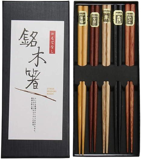 5 pares Palillos naturales reutilizables lavables Japon/és Palillos de Bamb/ú Lavable con lujoso estuche de palillos negro decorado para sushi Gobesty Palillos japoneses naturales platos chinos