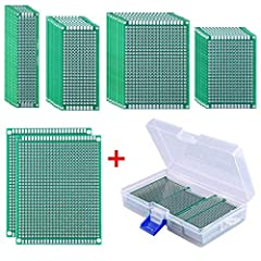 AUSTOR 36 Pieces Double Sided PCB Board Prototype Kit with Free Box Features 36 Pieces in 5 different sizes A good assortment to meet your design demands such as electronic experiments and DIY projects Easy to use Pre-tinned plated holes on t...