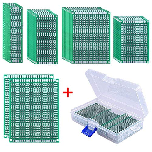 AUSTOR 36 Pcs Double Sided PCB Board Prototype Kit 5 Sizes Universal Printed Circuit Protoboard with Free Box for DIY Soldering and Electronic - Board Prototype