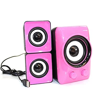 Sistema de Altavoces PC 2.1 Subwoofer Estéreo Speakers para Portátil y Ordenador (Color Rosa): Amazon.es: Electrónica