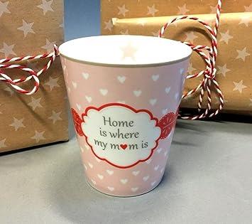 Porzellan Tasse Home Sweet Home Becher Kaffeebecher Kaffeetasse New Bone China