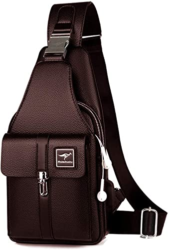 Leathario Men leather Chest Bag Shoulder Bag Crossbody Casual Bag Pack Multipurpose Brown-266-L