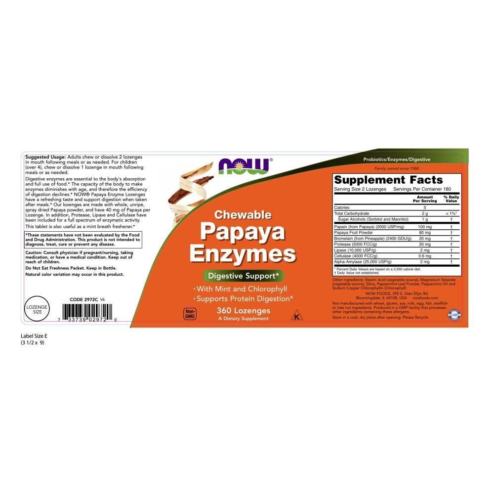 Amazon.com: Now Foods – Papaya Enzima Chewable, 2972, 1, 1 ...