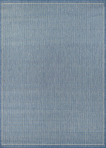 All Weather Area Rug (Couristan Recife Saddle Stitch Indoor/Outdoor Area Rug Champagne/Blue, 3'9