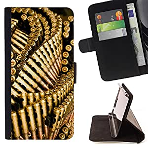 Bullets Gun Golden Bling Wallpaper - Painting Art Smile Face Style Design PU Leather Flip Stand Case Cover FOR HTC One M8 @ The Smurfs
