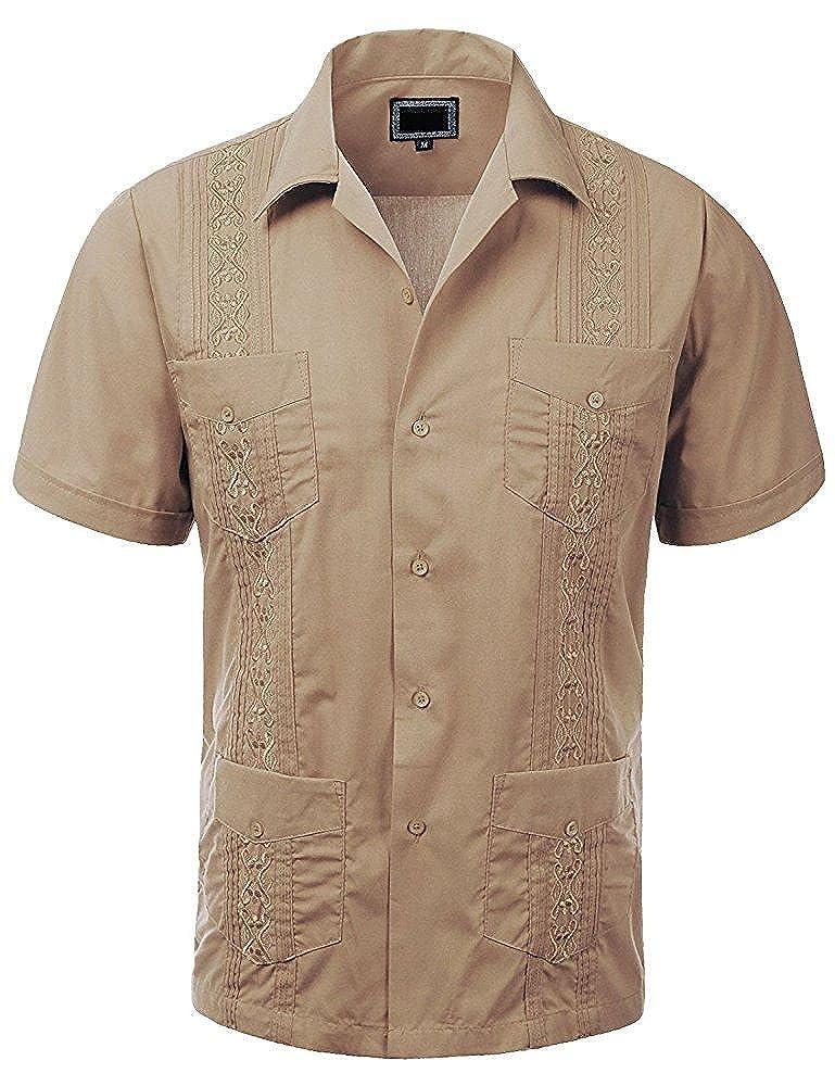 MAXIMOS MENS SHORT SLEEVE BUTTON-UP CUBAN GUAYABERA DRESS SHIRT BEACH WEDDING BARTENDER