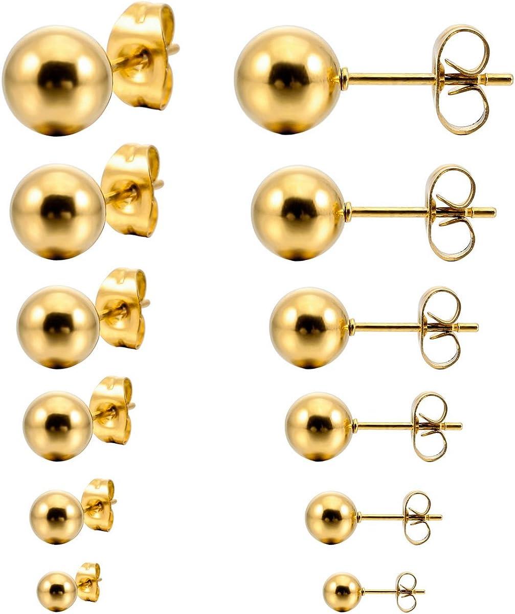 MunkiMix 3~8mm 12 Pieza Acero Inoxidable Semental Pendientes Bola Bola Bead Conjunto Set (6 Coppiaes) Hombre,Mujer