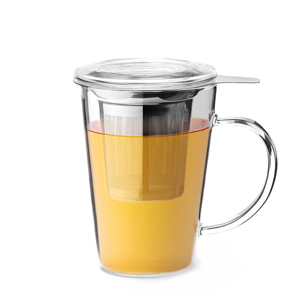 Teabox Clear Tea Mug (Borosilicate Glass, Stainless Steel Infuser, 15 fl oz)