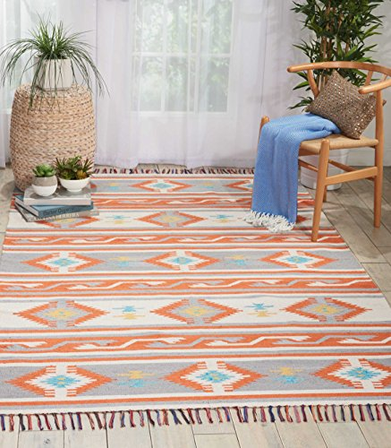 Nourison BAJ03 Baja Tribal Area Rug 5 7 Feet, 5'x7' , - Cotton Rug Weave