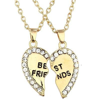 Amazon Com Best Friend Pendant Necklaces Bff Engraved 2 Pieces
