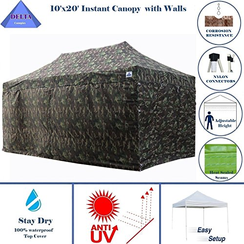 10'x20' Ez Pop up Canopy Party Tent Instant Gazebos 100% Waterproof Top with 6 Removable Sides Camouflage - E Model By DELTA (Camouflage Canopy)