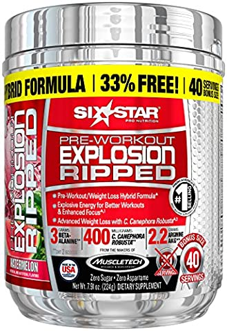 Six Star Explosion Ripped Pre Workout Thermogenic, Preworkout Energy, Weight Loss, Watermelon, 6.51 oz. (185g), 33 - Health Star