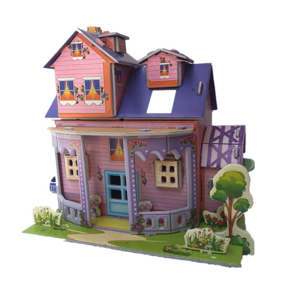 ouken DIY 3D Paper Board Puzzle Schöner Cartoon Castle House Construction Lernen Bildungs ??Intelligenz-Spielzeug für Kinder