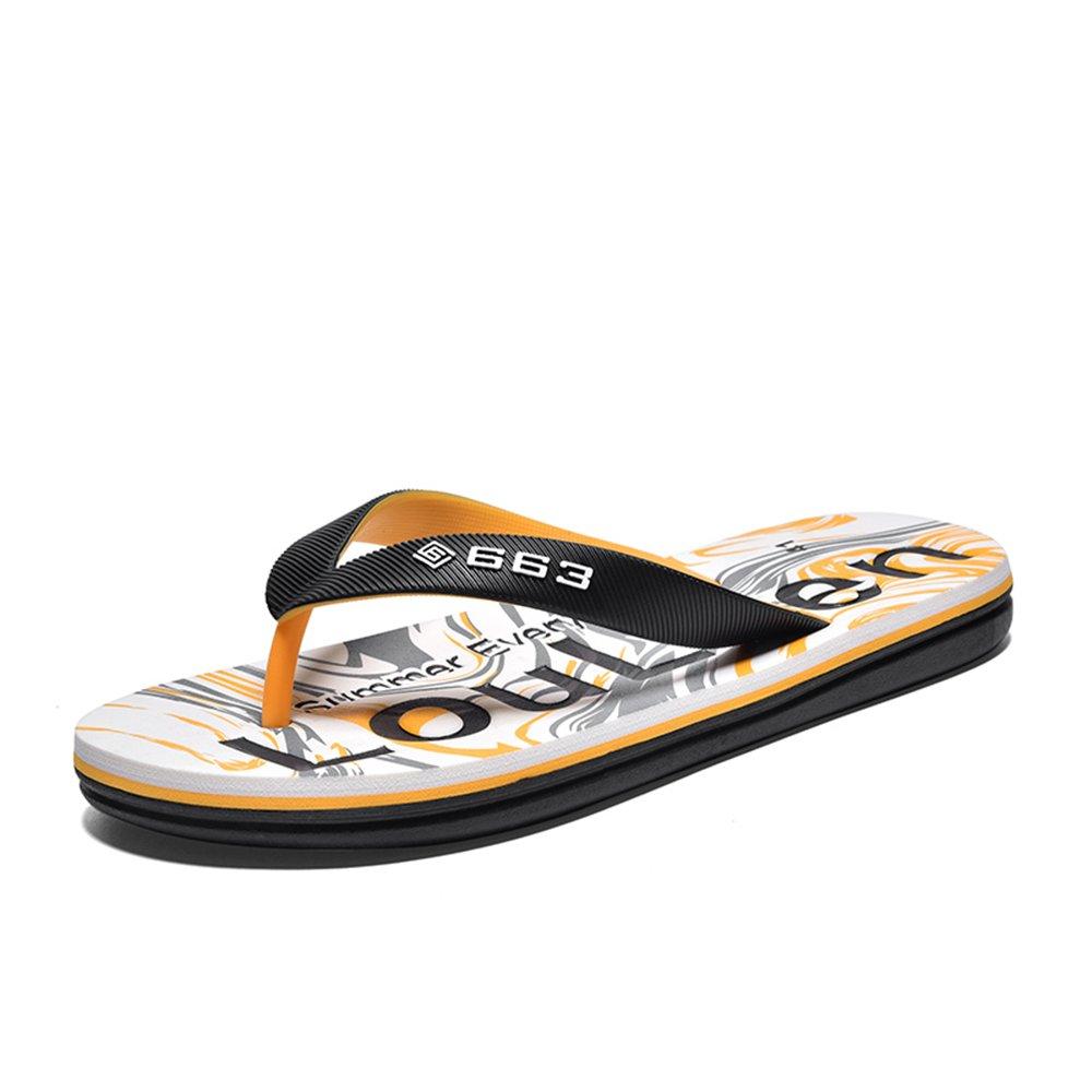 Sunny&Baby Chanclas de los Hombres Casuales con Sandalias de Playa Impresas Elegantes de la Parte Inferior Suave a Prueba de resbalones Resistente al Desgaste (Color : Amarillo, Tamaño : 44 EU) 44 EU|Amarillo