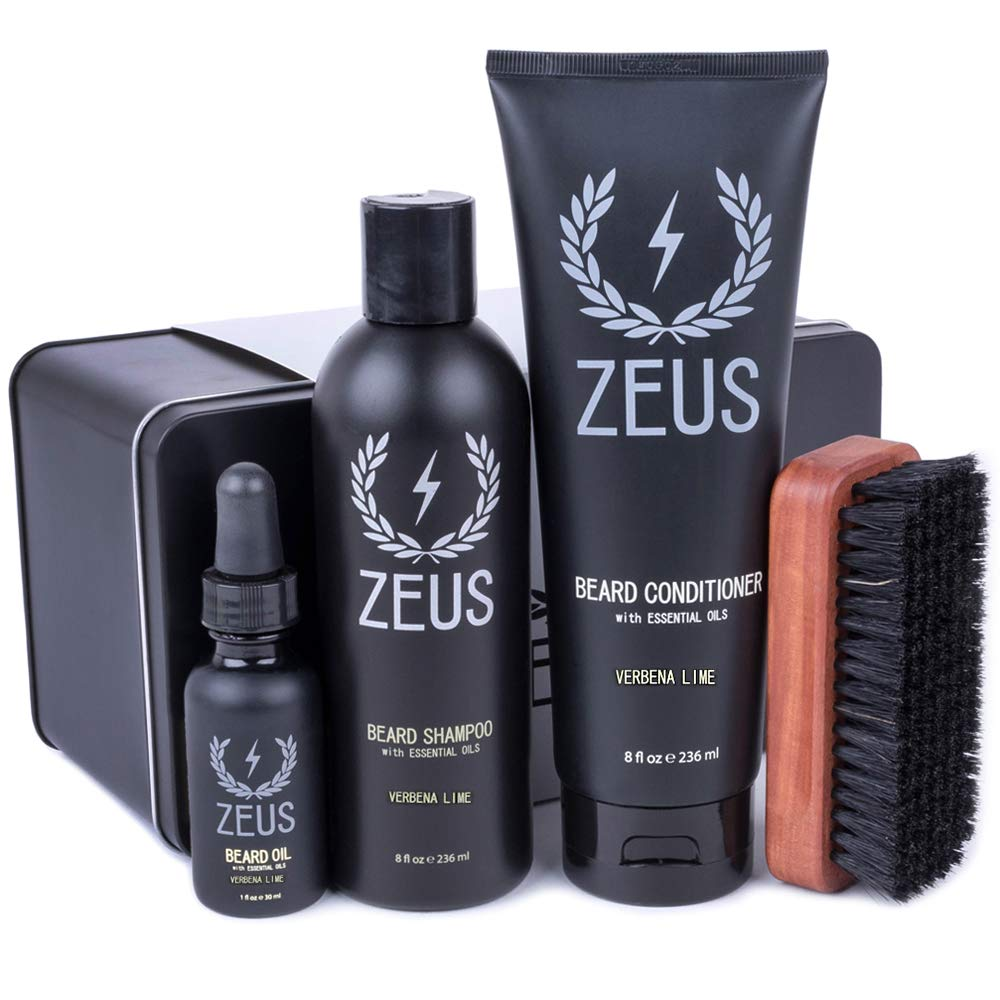 Amazon Com Zeus Deluxe Beard Grooming Kit For Men Beard Care Gift Set To Soften Hairs And Prevent Itchiness And Dandruff Verbena Lime Beauty