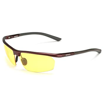 936625b2d9 Soxick® Mens HD Metal Polarized Night Driving Glasses Sports Sunglasses  (Red Frame Yellow Lens-1)