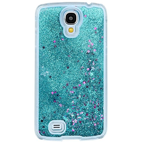 Samsung Galaxy S4 Case-Yerwal Creative Design Transparent Flowing Bling Glitter Quicksand Stars Hard Plastic Transparent Case Cover for Samsung Galaxy S4 SIV I9500(Blue)