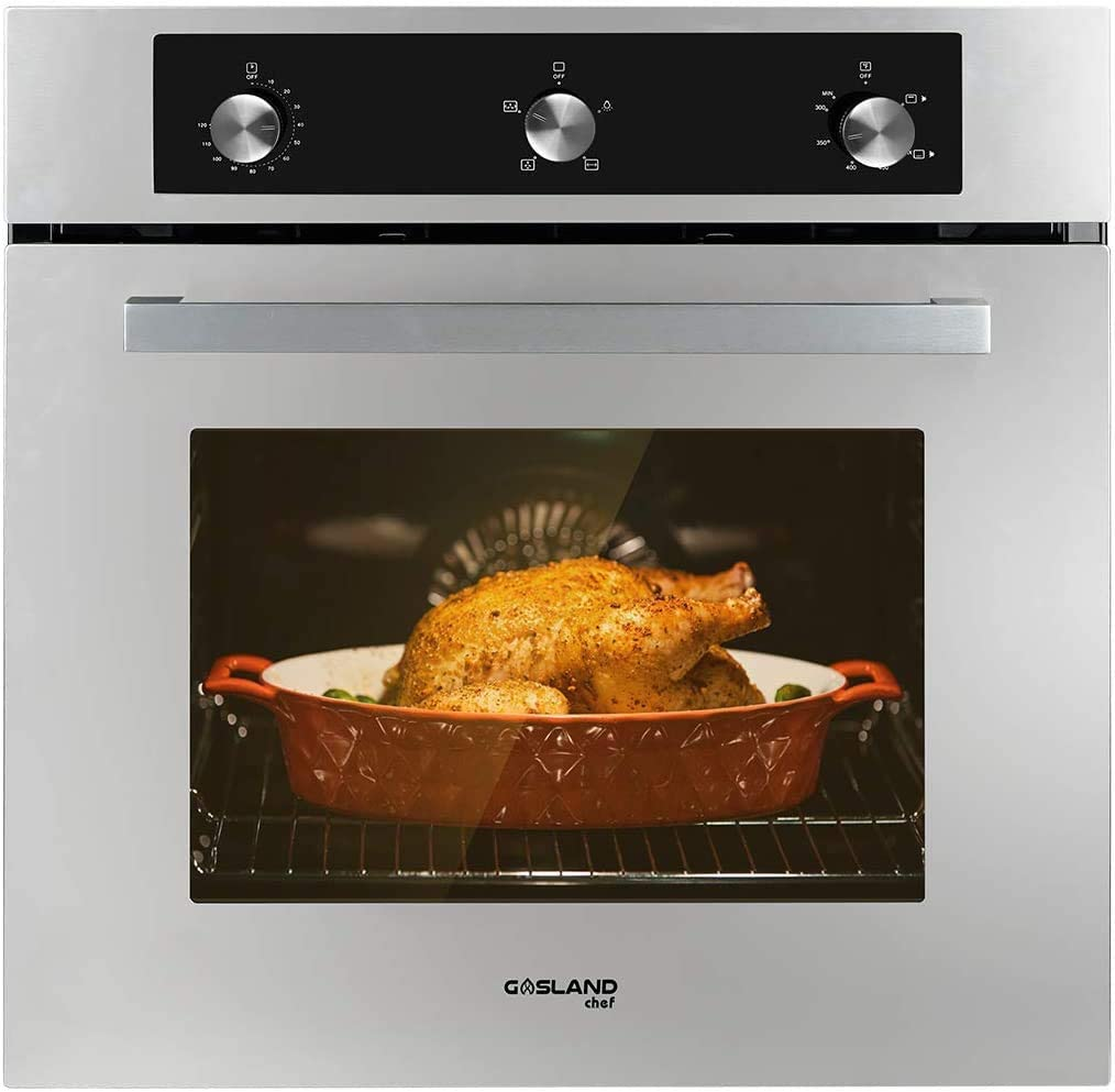 "Single Wall Oven, GASLAND Chef GS606MSLP 24"" Built-in Propane Gas Oven, 6 Cooking Function Convection Gas Wall Oven with Rotisserie, Mechanical Knob Control, 120V Electric Ignition, Stainless Steel"