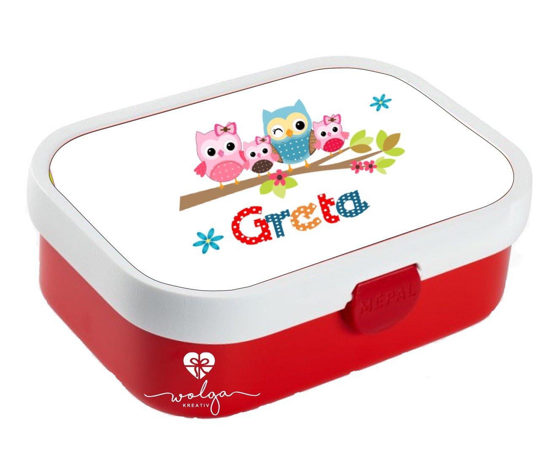 wolga-kreativ Brotdose Lunchbox Kinder Eulenfamilie mit Namen Rosti Mepal personalisiert