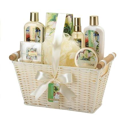 Amazon Com Minted Jasmine White Basket Spa Set Pack Of 1 Set Home