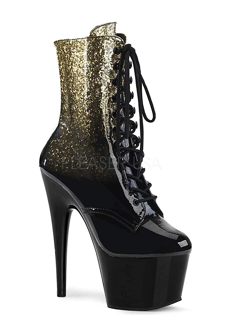 gold-black Gltr Patent Pleaser Women's Adore-1020OMB Ankle-High Boot