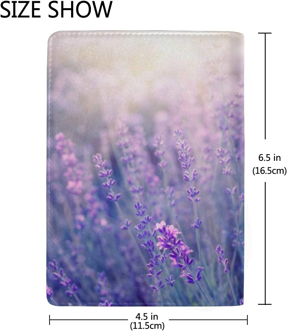 Lavender Purple Flowers Blossom Blocking Print Passport Holder Cover Case Travel Luggage Passport Wallet Card Holder Made With Leather For Men Women Kids Family