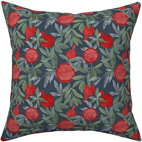 Amazon Com Roostery Pomegranate Linen Cotton Throw Pillow Pomegranates Flora Botanical Nature Leaves Floral By Lavish Season Cover And Insert Included Home Kitchen