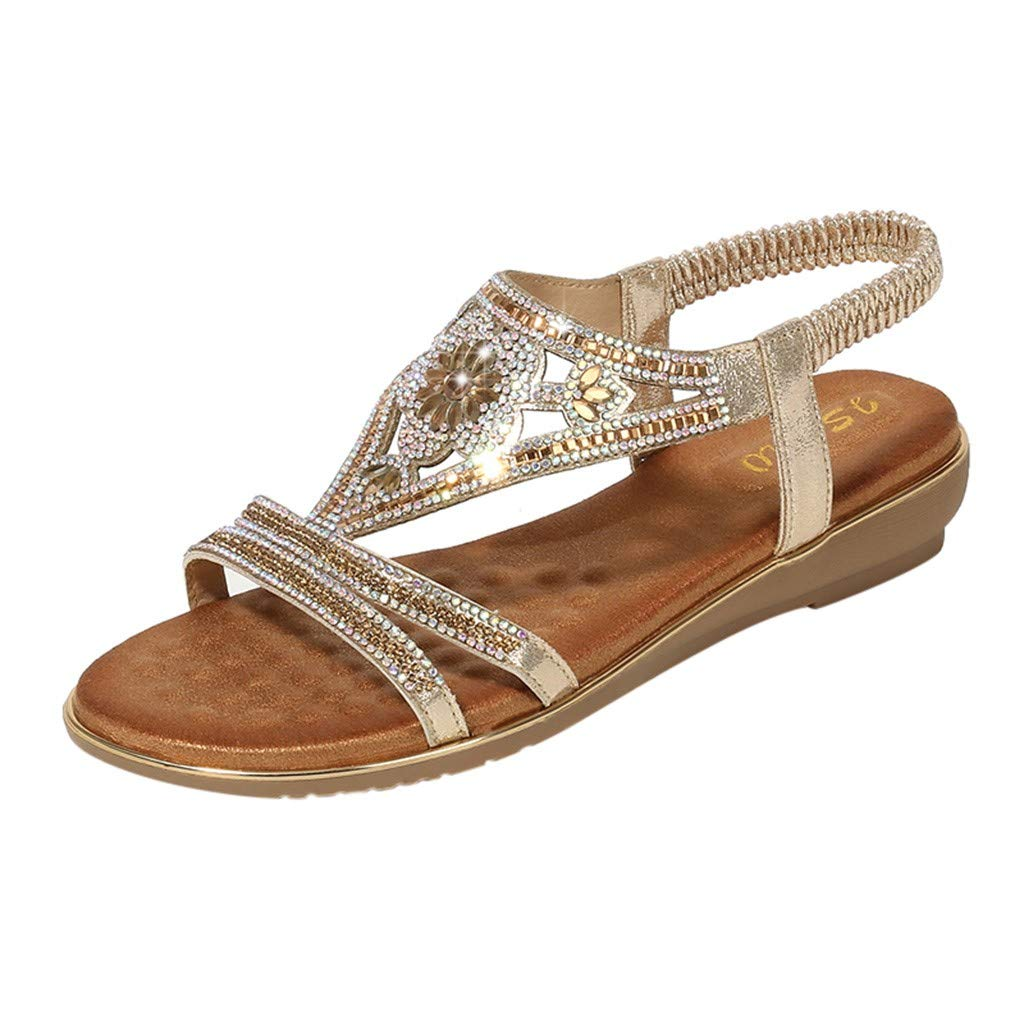 CCOOfhhc Women's Bohemia Sandals Summer Crystal Beach T-Strap Flat Sandals Comfort Walking Shoes Gold