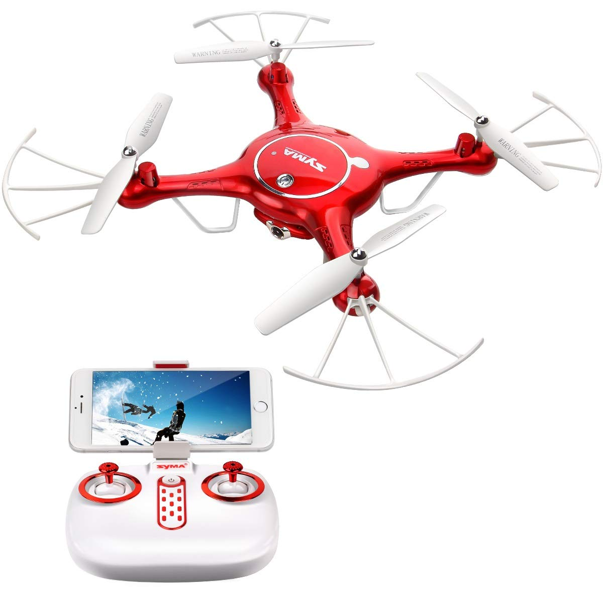 Syma X5UW Wifi FPV 720P HD Camera Quadcopter Drone with Flight Plan Route App Control & Altitude Hold Function With Extra Battery Red DoDoeleph B01M1LJNJK