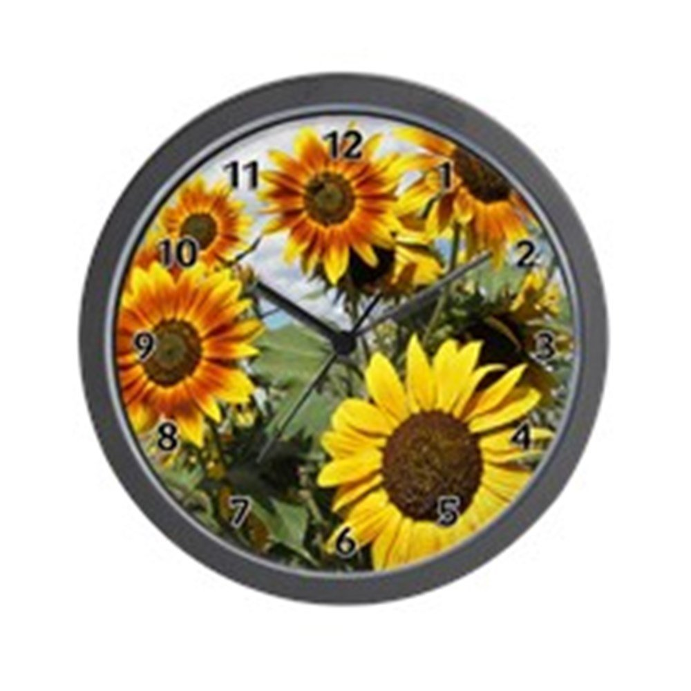 CafePress - Sunflower Fields Wall Clock - Unique Decorative 10 inch Wall Clock