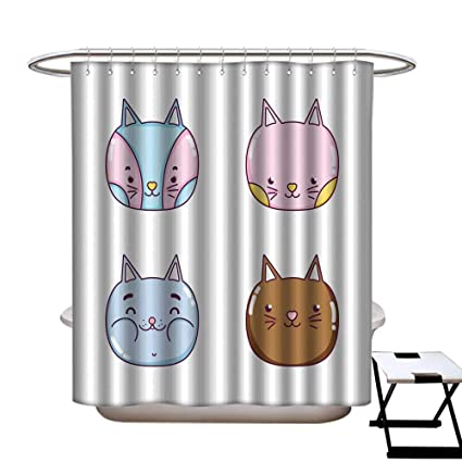 Warmfamily Funny Shower Curtain Cute Cat Cartoon CurtainW48 X L72