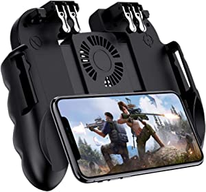 Kingcenton Mobile Game Controller 4 Trigger with Cooling Fan [6 Finger Operation], L1R1 L2R2 Phone Controller, Compatible with 4.7-7.0 inch iOS & Android Phone