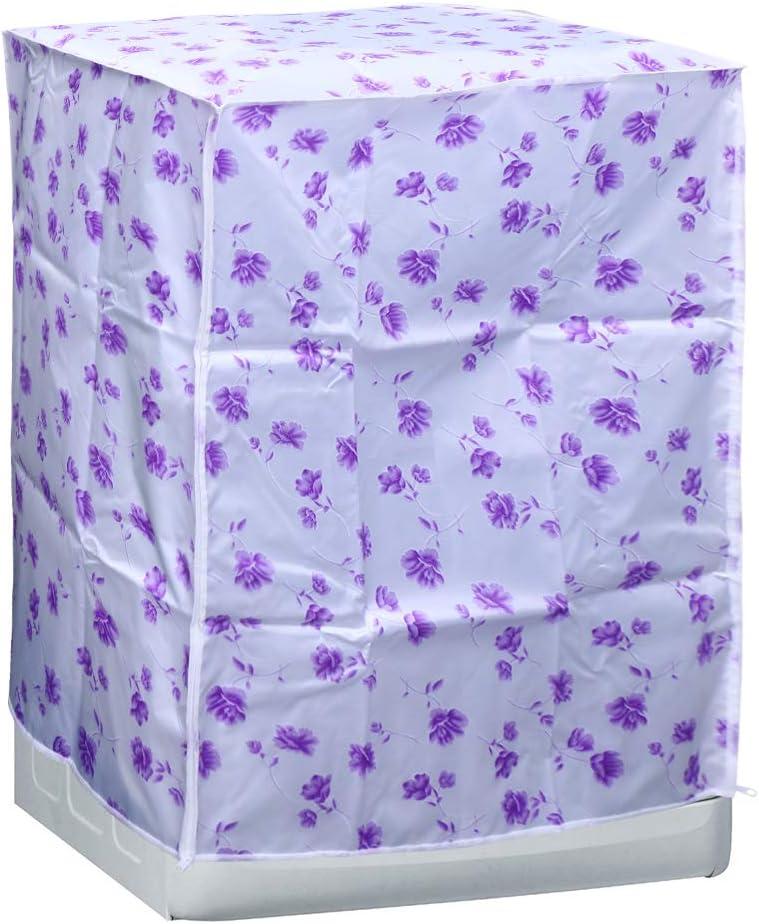 Fiore Viola Vosarea Coprilavatrice Carica Frontale Impermeabile con Cerniera Anti-Spruzzi e Anti Sunlight 58 /× 63 /× 85 cm
