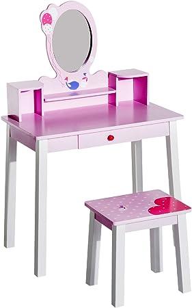 Homcom Coiffeuse Enfant Table De Maquillage Avec Tabouret 1