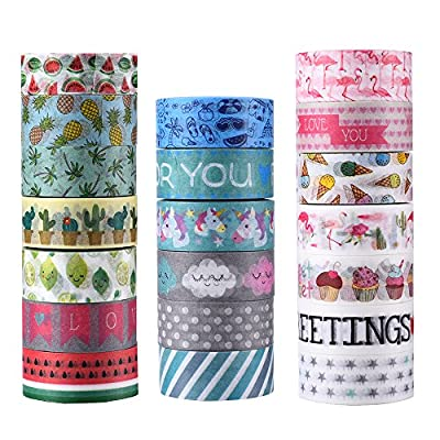 AGU 20 Rolls Washi Tape Set, Decorative Adhesive Tape for DIY Crafts,Beautify Bullet Journals,Planners from AGU